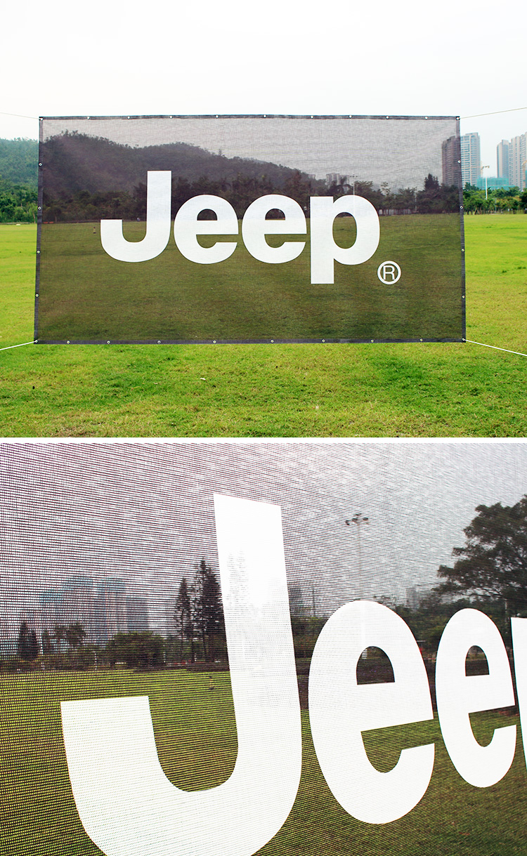 Custom Outdoor Temporary Fence Transparent Vinyl Mesh Banner Wide format Shade Cloth Banners