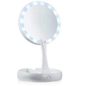 Vanity Mirror LED Lighted Stand Foldable Compact Makeup Mirror 1X/10X Magnifying
