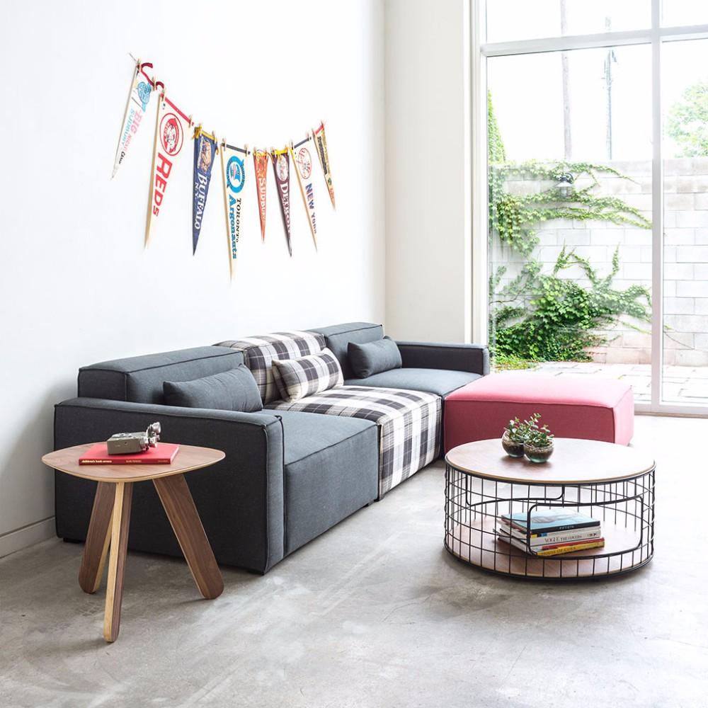 Simple Flat Pack Design Corner Sofas Pink Grey Colorful Modular Fabric Sofa Set China Furniture