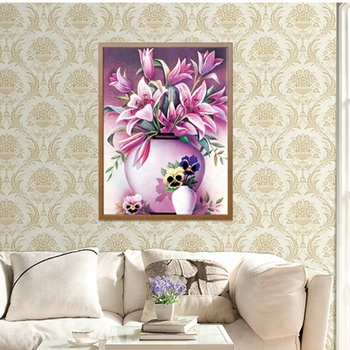 Factory Supply Flower Canvas Wall Art Painting Diy 5d Diamond