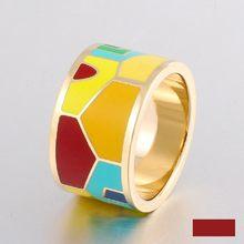 Модные ювелирные изделия, винтажные кольца из нержавеющей стали для женщин, цветные дизайнерские Эмалированные кольца, индивидуальное бол...(Китай)