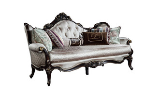 Noble Classic French Solid Wood Three Seat Couch, Antique Handcrafted Living Room Sofa BF11-10302k