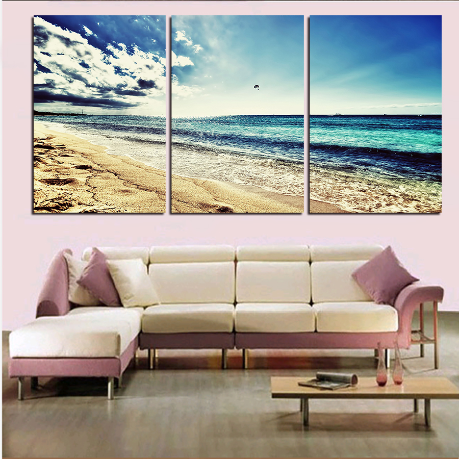 3 Panels (No Frame)Sandy Beach Painting Canvas Wall Art Picture Home Decor Living Room Canvas Print Modern Painting Wall Panels