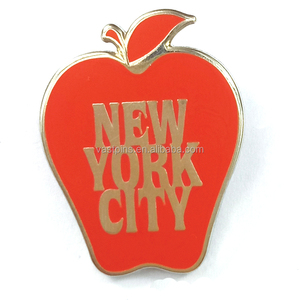 Cheap Custom Badge Red Apple Logo Metal Hard Enamel With Silver Plated Pin Badge For Christmas Gifts