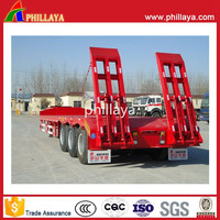 China Multi-axle gooseneck low bed / flat car hydraulic heavy duty equipment utility truck semi trailer with axle
