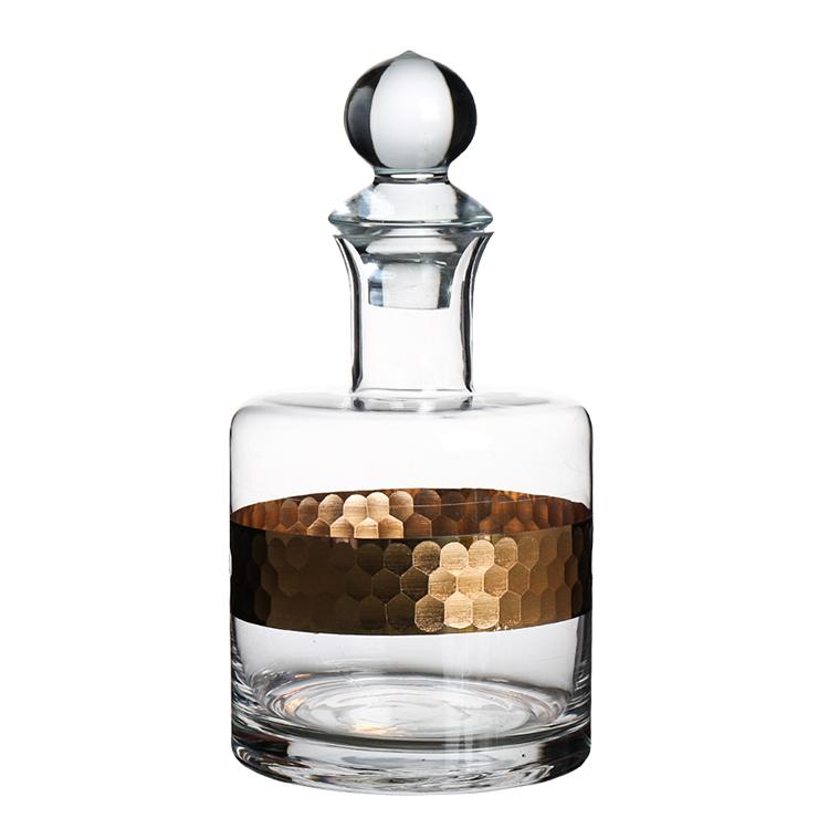 2019 New Design Handmade Gold Etched Engraved Whisky Decanter Set