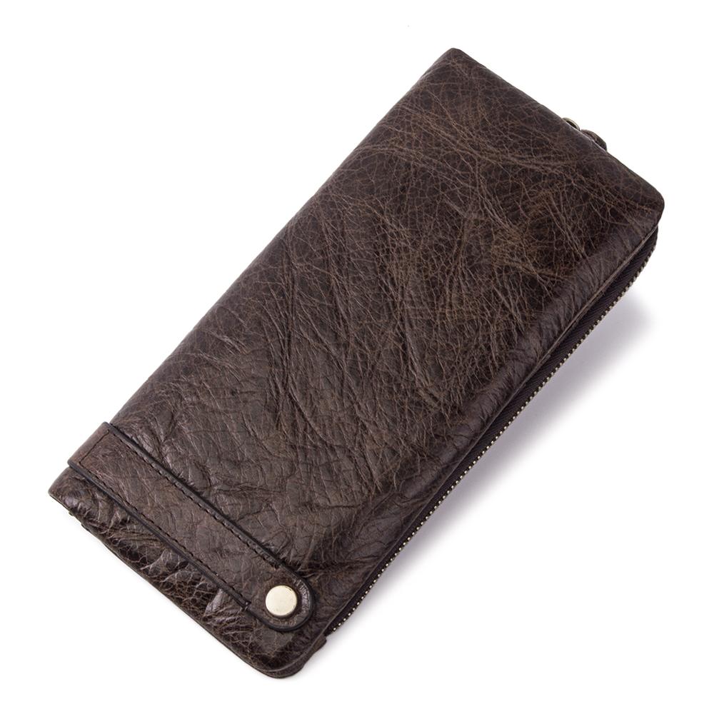 ODM Men Long Wallets RFID Multi Credit Card Slot Genuine Leather Purse Wallets with Zip Pocket