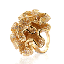 Trending Sieraden Breed Bloem Gold <span class=keywords><strong>Plating</strong></span> Brede Vrouwen <span class=keywords><strong>Ring</strong></span>