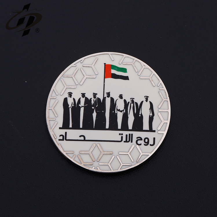 High-end custom wholesale  soft enamel  silver UAE commemorative coin for National Day
