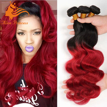 Dark Root Ombre Hair Extensions 1B/Bug Brazilian Virgin Hair Body Wave Two Tone Ombre Human Hair Weave