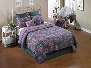 Donna Sharp Melanie Log Cabin Hand Quilted 100-Percent Cotton King Quilt