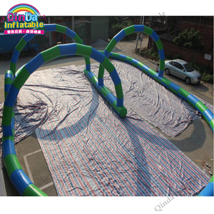New design PVC material inflatable bumper car track,cheap price inflatable go kart race track car for outdoor play