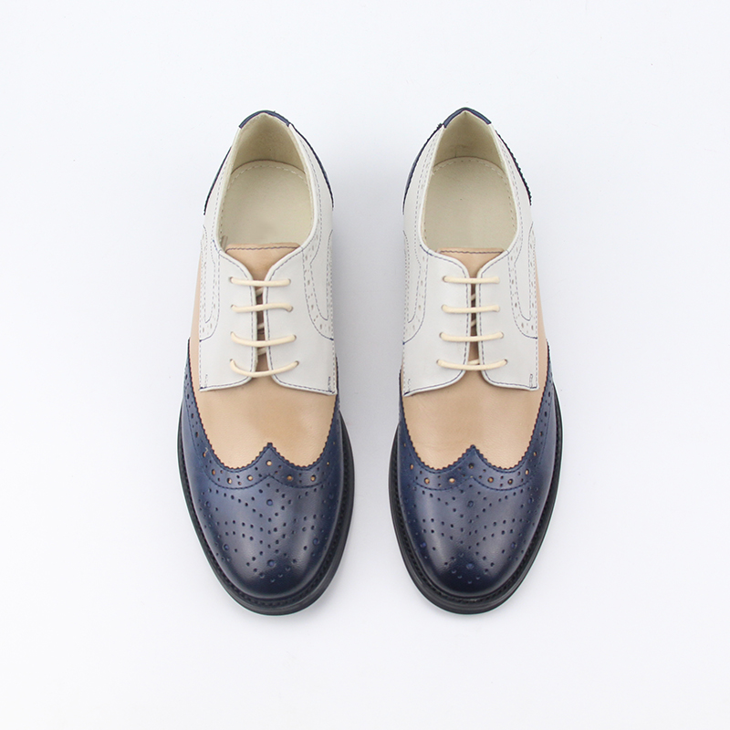 women shoes oxfords shoes leather famous mixed ladies brogues up real color casual brand YINZO handmade lace AfqHHxwRIn
