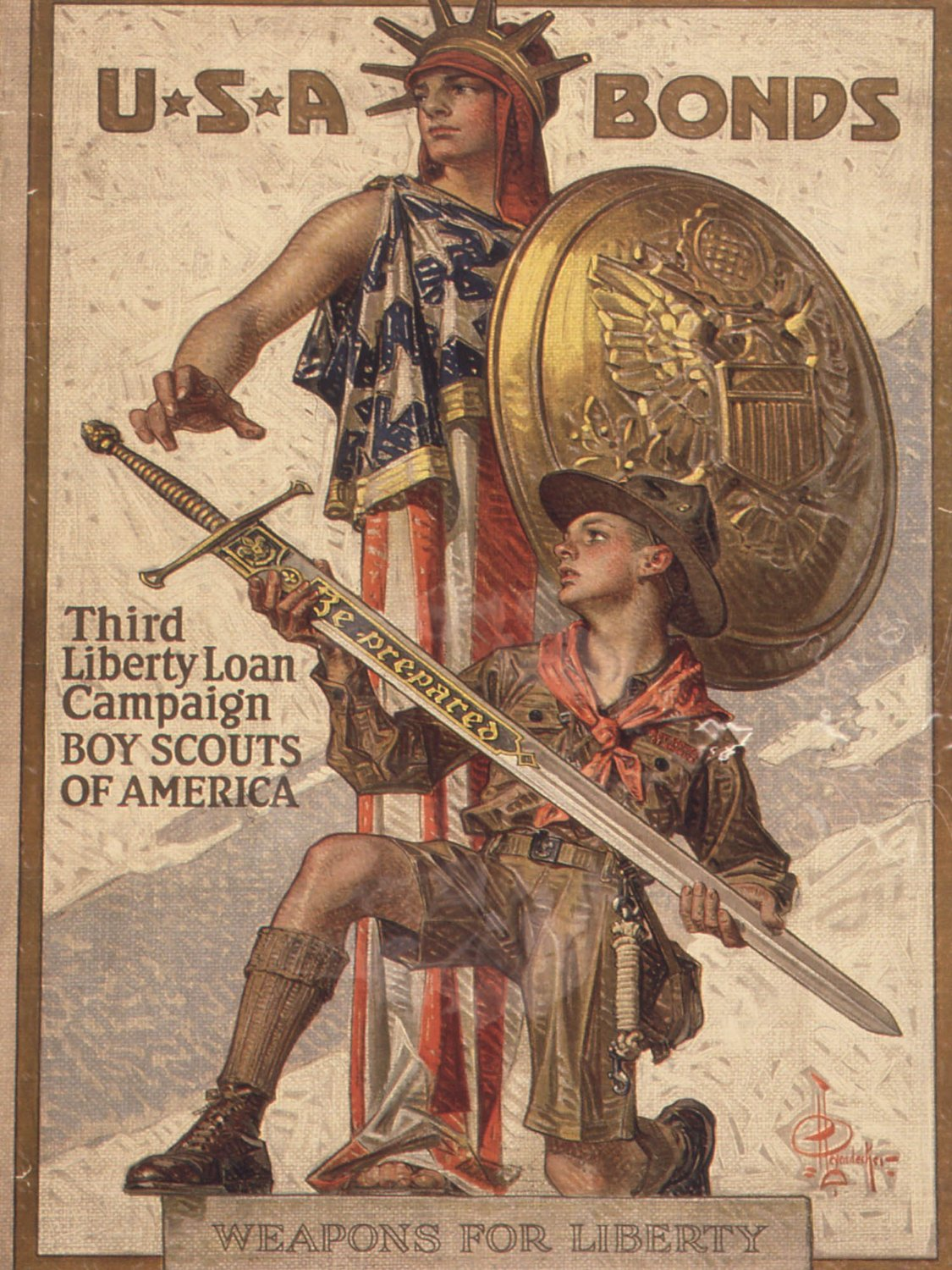 3dRose CST/_149392/_1 Vintage USA Bonds Third Liberty Loan Campaign Boy Scouts of America Soft Coasters Set of 4