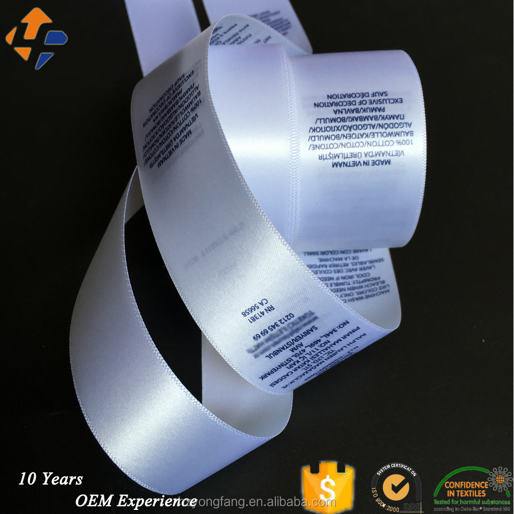 custom printed satin label rolls for garment wash care label/ home textile care label printing