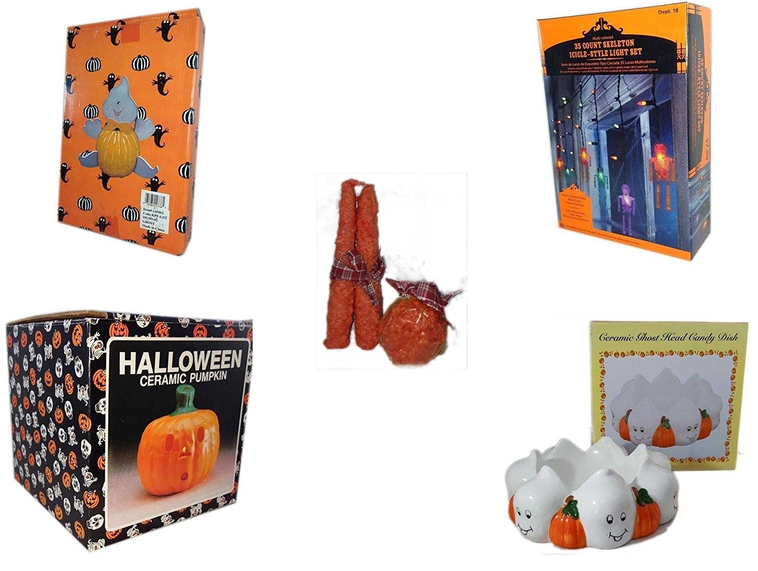 Halloween Fun Gift Bundle [5 piece] - Halloween Ghost Pumpkin Push In 5 Piece Head Arms Legs - 35 Count Skeleton Icicle-Style Light Set - Autumn Orange-spice Candles Set of 3 - Halloween Ceramic Pum
