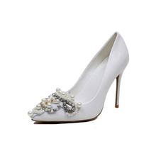 Pointed Toe High Heel Pumps WomenJeweled wedding shoes Pearl Sexy Dress Shoe White bridal Shoe Closed Toes