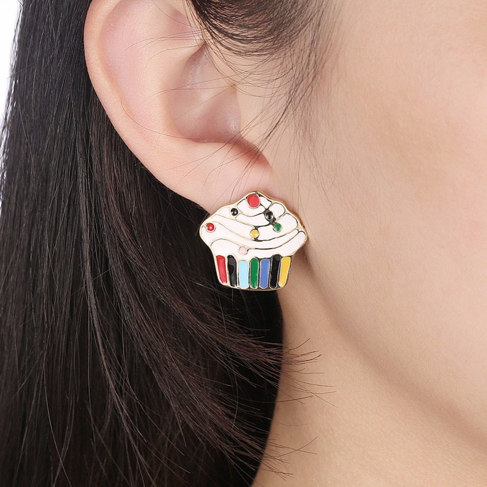 2017 Yiwu Wholesale New Cute girl party ice cream shape earrings