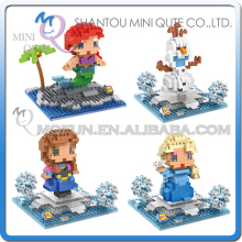 Mini Qute LOZ Anna Elsa Olaf Kristoff Building Blocks intelligence Cartoon plastic action figures building block