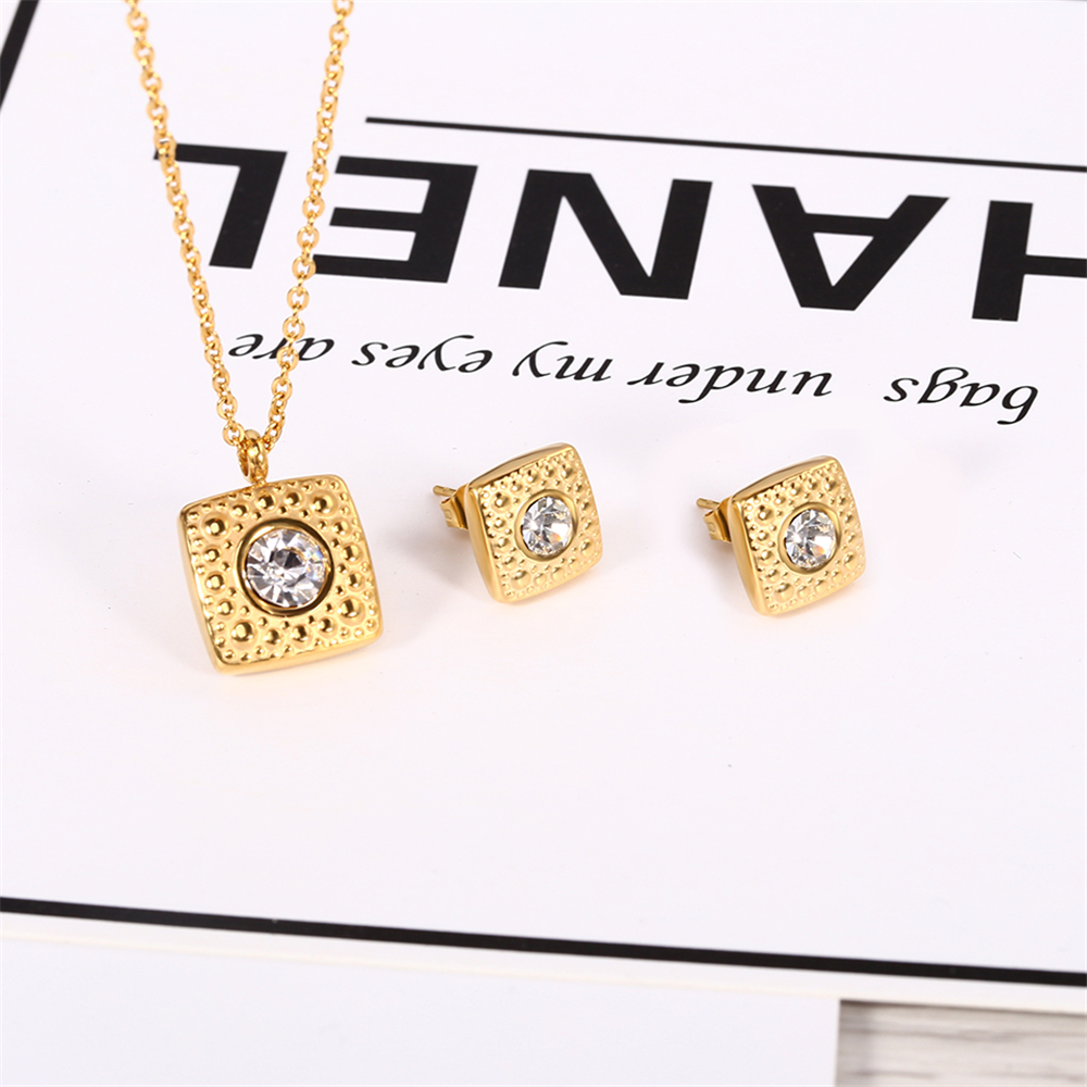 2019 best 잘 팔리는 women stainless steel 스퀘어 (times square) 펜 던 트 necklace jewelry set