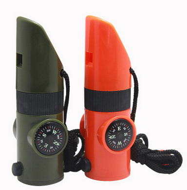 Multy Function7 in 1 Military Survival Whistle, Compass,Thermometer,Led Light With Lanyard