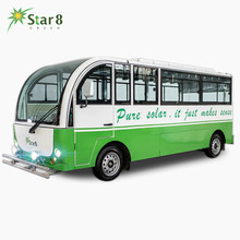 Electric enclosed vehicle RHD/LHD solar school bus passenger automobile 23seat sightseeing shuttle bus with GPS/air condition