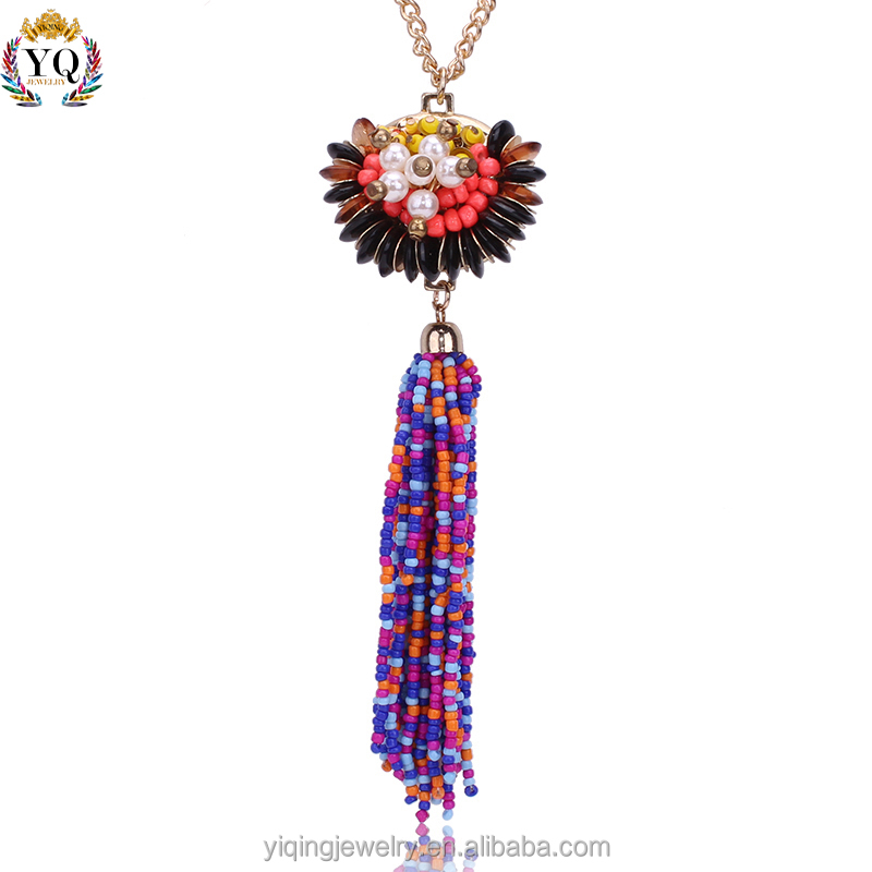 PYQ-00024 boho colorful bead tassel custom pendant with long chain necklace decorated with pearl