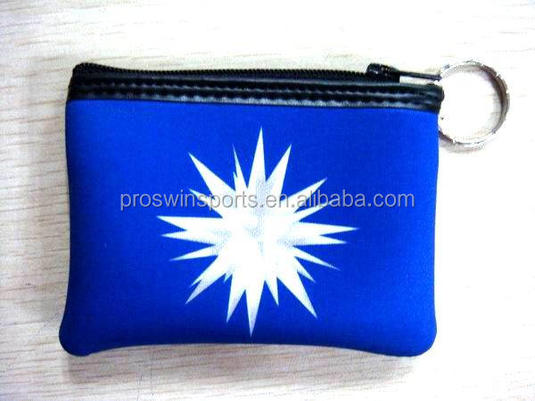Mini neoprene coin purse wallet with coin slot