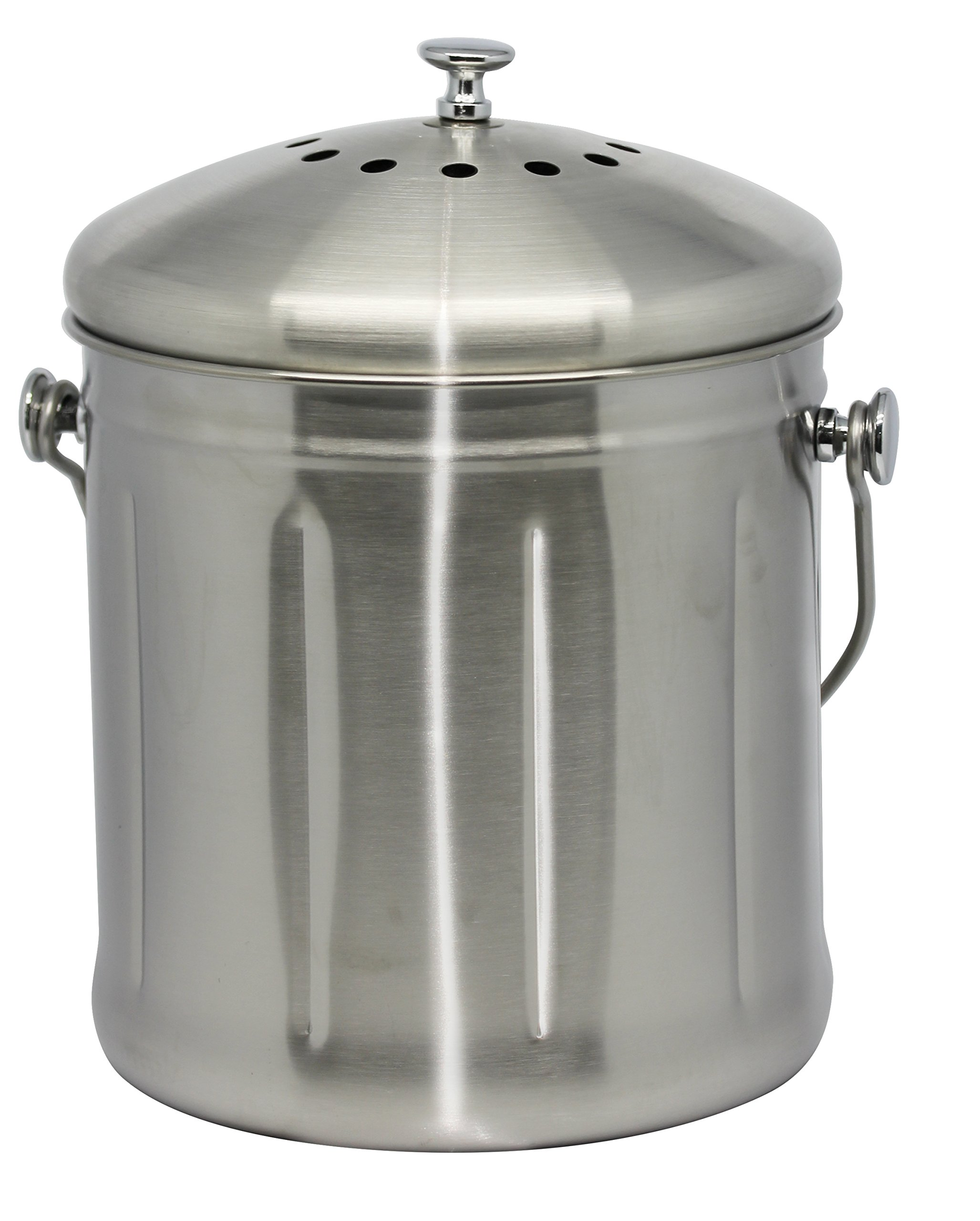 Natural Home Stainless Steel Compost Bin, 1.8-Gallon, Stainless Steel