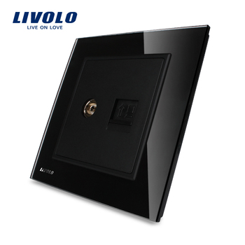 dbd0cb49f1f15 Livolo производство роскошный черный стекло панель 2 банды настенный  компьютер rj45 и ТВ розетки стены электрический