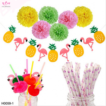 Amazon Hot Selling Hawaiian Luau Pom Poms Flamingo Paper Straws Birthday Theme Party Supplies Pineapple Banner