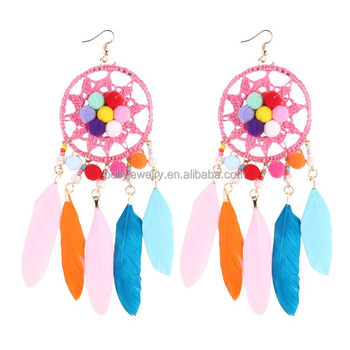 India Fashion 2019 New Design Bohemia Style Feather Main Material Big Oversize Dream Catcher Chandelier Earrings