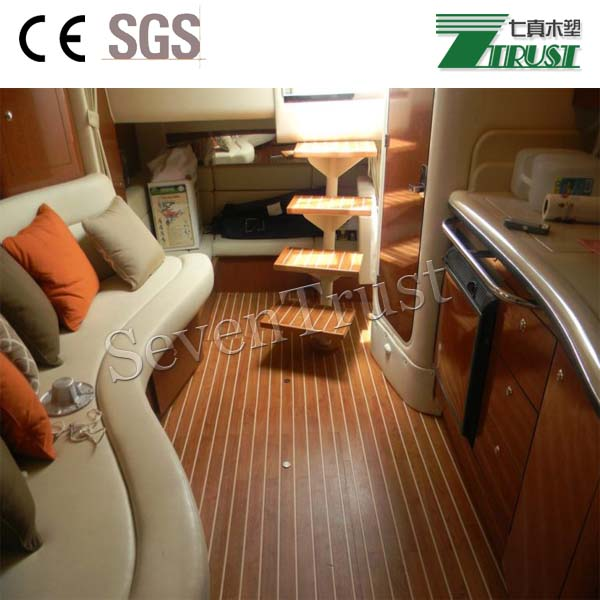 Surface are Wood grain, sanding, PVC soft decking for marine/board