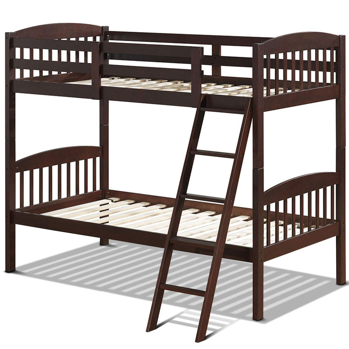 Costzon Twin Bunk Beds, Convertible Into Two Individual Beds, Solid Wood Twin Bunk Beds for Kids with Ladder and Safety Rail, Espresso