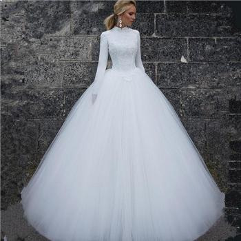 K3642a Disesuaikan Lengan Panjang Gaun Pengantin Muslim Terbaru Gaun Pengantin Mewah Arab Wedding Dress 2018 Buy Gaun Pengantin Gaya Arab Putih Arab