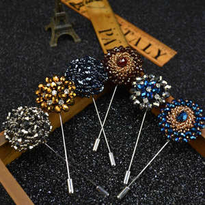 Upscale Decorative Crystal Suit Brooch for Male Brand Jewelry shirt's