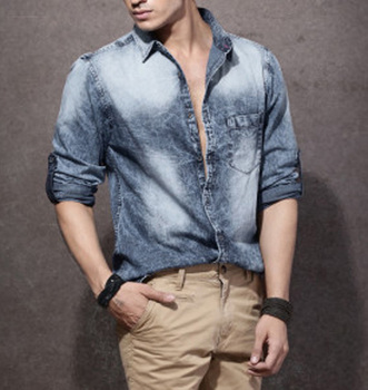 9746188927d 2017 men blue washed denim shirt casual long sleeve fade fitted t shirt  cheap price wholesale