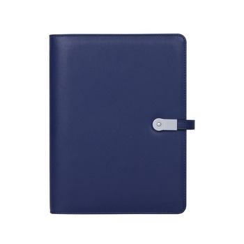 Multifunctionele kaartsleuven hoge kwaliteit A5 PU leather portfolio map notebook met power bank