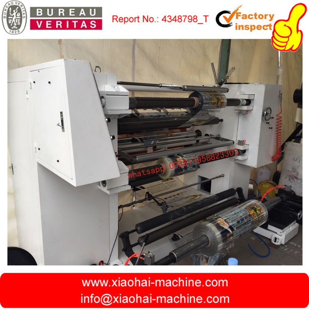 PLC touch screen Automatic plastic bopp slitting machine With flat knife and automatic unwinder rewinder tension control