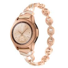 Женский браслет с бриллиантом, для Samsung Galaxy Watch 46/42 мм/Active 2 1 Band, для Samsung Gear S3, быстросъемный металлический наручный ремень(Китай)
