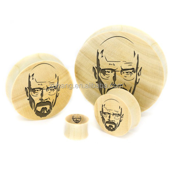 Engraved Sexy Lip Logo Wood Tunnel Plug