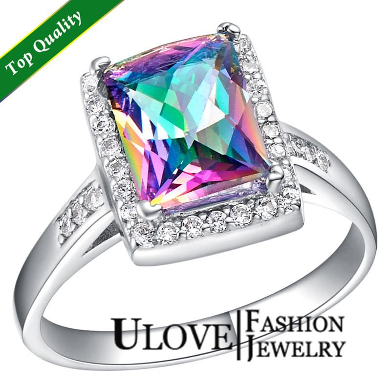 925 Sterling Silver Simulated Diamond Multi Color Romantic