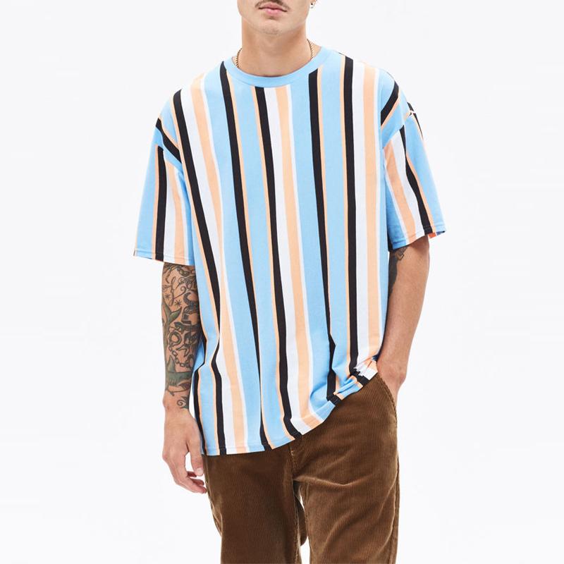 OEM Kaus Oblong Pria Ukuran Besar, Atasan Motif Garis-garis Vintage Vertikal Garis-garis