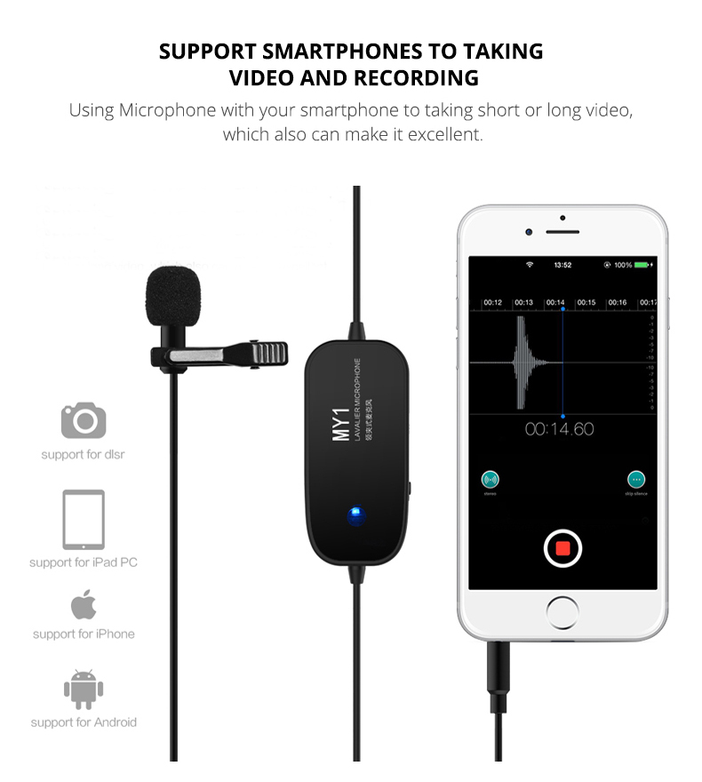 Yelangu Mobile Phone Condenser Lavalier Clip Microphone For Canon Video Camera Android Phone