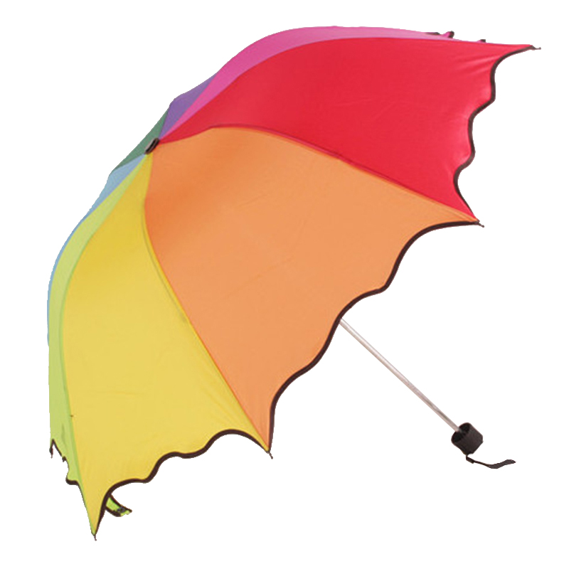 B17 folded ruffled umbrella 8 colors rainbow umbrella for sunny and rainy day