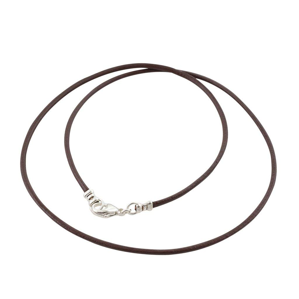 Sterling Silver 1.8mm Fine Brown Leather Cord Necklace