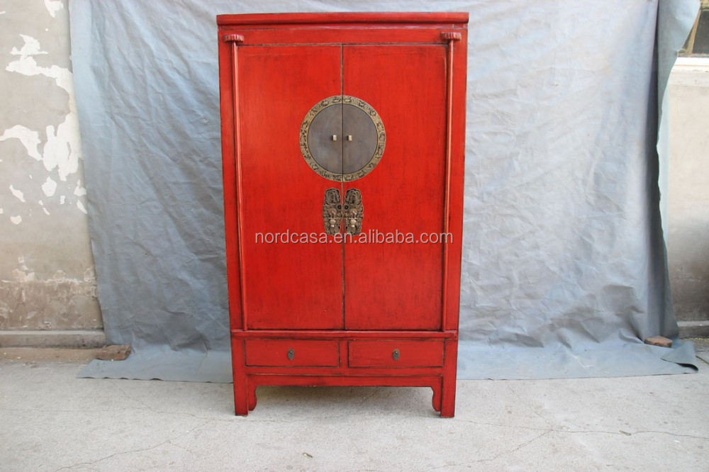 Chinese bedroom furniture antique red and green armoire for Oriental reproduction furniture