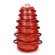 6PCS Set Red Decal Fashion Design Enamel Casserole