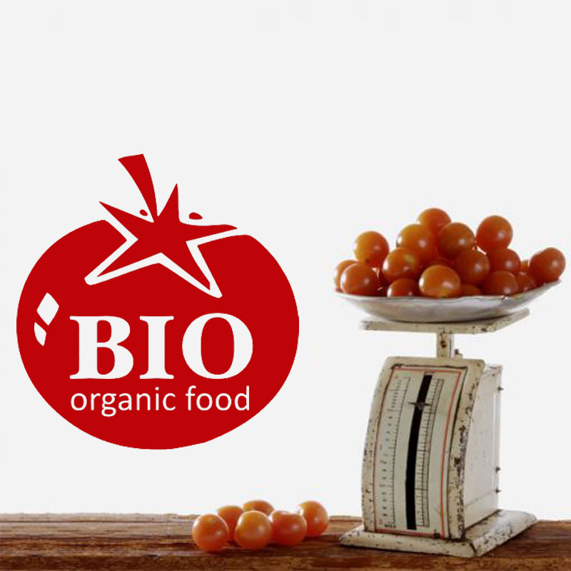 Bio Organic Food Wall Sticker Tomato Pattern Vinyl Hollow Out Creative Home Decor For Kitchen