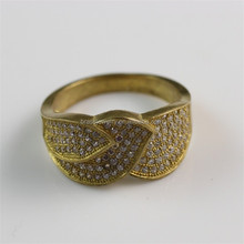 Promotion Fashion Jewelry New Product Zircon Paved Raw Brass Artificial Finger Rings